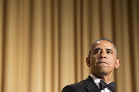 U.S. President Barack Obama speaks during the White House Correspondents' Association Dinner in Washington May 3, 2014. REUTERS/Joshua Rober