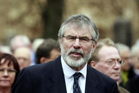 Sinn Fein President Gerry Adams attends the funeral of Father Alec Reid at the Clonard Monastery in west Belfast November 27, 2013. REUTERS/