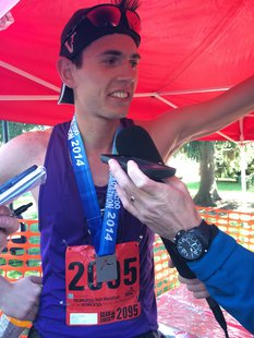 2014 Kalamazoo Marathon half-marathon winner 24-year-old Jeff Nordquist.