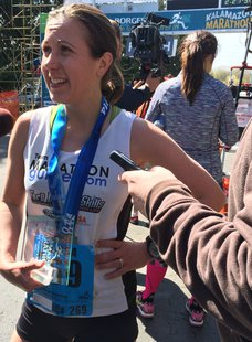 31-year-old Melissa Gillette from Goshen, Indiana was the first female winner in the 2014 Kalamazoo Marathon.