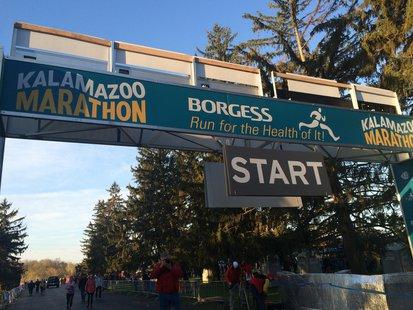 The starting line of the 2014 Kalamazoo Marathon.