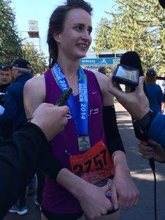 2014 Kalamazoo Marathon half-marathon female winner 23-year-old Sarah Drevon.