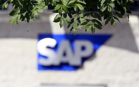 A SAP logo is seen at its offices in the CityWest complex, Dublin September 5, 2013. Picture taken September 5, 2013. REUTERS/Cathal McNaugh