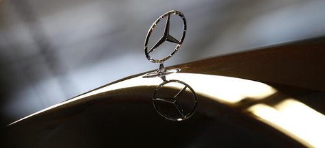 An emblem of German car Mercedes-Benz is pictured at the production line of the Mercedes-Benz S-class in Sindelfingen near Stuttgart January