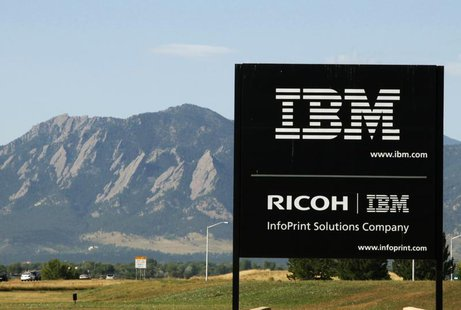 The sign at the IBM facility near Boulder, Colorado is seen with the Boulder Flatiron mountains in the background, September 8, 2009. REUTER