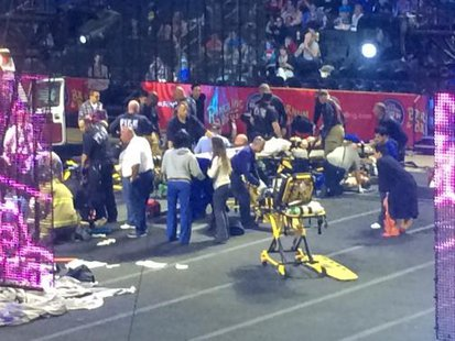 Emergency personnel attend to Ringling Bros. and Barnum & Bailey Circus performers who were injured when the scaffolding they were performing from collapsed in Providence, Rhode Island, May 4, 2014.  CREDIT: REUTERS/ALETHA WOOD