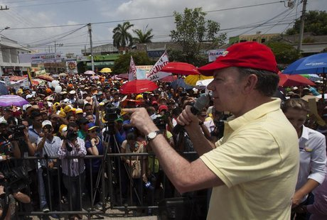 Colombia's President and presidential candidate Juan Manuel Santos delivers a speech during a campaign rally in Soledad, northern Colombia M
