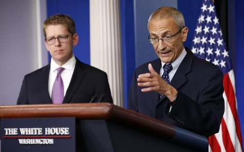White House senior counselor John Podesta (R) speaks to reporters in the White House briefing room in Washington May 5, 2014. REUTERS/Kevin