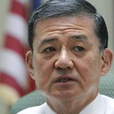U.S. Veterans Affairs Secretary, retired general Eric Shinseki makes remarks during a visit to the Coatesville VA Medical center in Coatesvi
