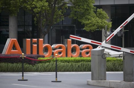 Alibaba's logo is seen at its headquarters on the outskirts of Hangzhou, Zhejiang province April 23, 2014. Picture taken April 23, 2014. REU