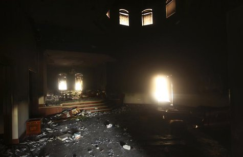An interior view of the U.S. consulate, which was attacked and set on fire by gunmen yesterday, in Benghazi September 12, 2012. REUTERS/Esam