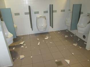 Restroom vandalized at MDOT rest stop