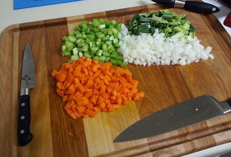 Prepared Mirepoix components. (Photo By Pigup [GFDL (http://www.gnu.org/copyleft/fdl.html) or CC-BY-SA-3.0 (http://creativecommons.org/licenses/by-sa/3.0)], via Wikimedia Commons).