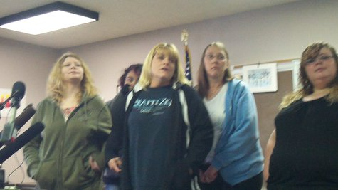 Jody Parrack's mom (far left) recently held a news conference in Constantine, after the arrest of McCann.