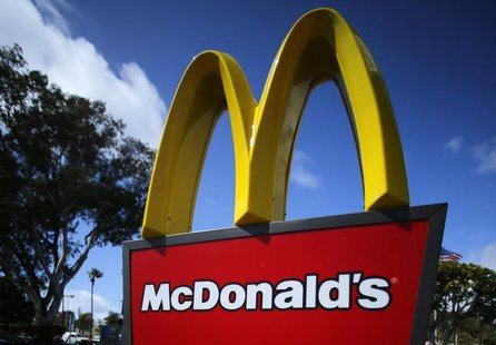 A McDonald's restaurant sign is seen at a McDonald's restaurant in Del Mar, California April 16, 2013. McDonald's Corp will announce its ear