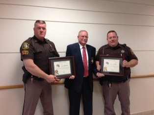 Branch County Deputies Al Fleming and Greg Ware receive award from Sheriff John Pollack