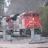 Canadian National Railroad train leaving Stevens Point yard.  Photo: WSAU