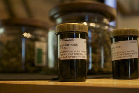 A bottle of a marijuana-based product is seen at the ''Oregon's Finest'' medical marijuana dispensary in Portland, Oregon April 8, 2014. CREDIT: REUTERS/STEVE DIPAOLA