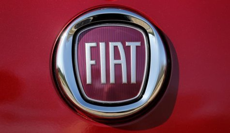 The Fiat logo is seen on a Fiat vehicle displayed outside Chrysler World Headquarters during the FCA Investors Day in Auburn Hills, Michigan
