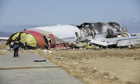 U.S. National Transportation Safety Board (NTSB) photo shows the wreckage of Asiana Airlines Flight 214 that crashed at San Francisco Intern