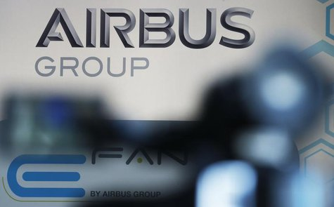 The logo of Airbus Group is seen during the first public flight of an E-Fan aircraft during the e-Aircraft Day at the Bordeaux Merignac airp