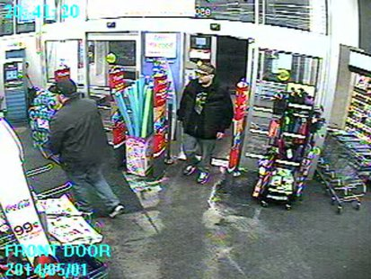 This image shows two suspects in the theft of a donation jar from Walgreens on S. Koeller St. in Oshkosh, May 1, 2014. (Photo from: Oshkosh Police Department).
