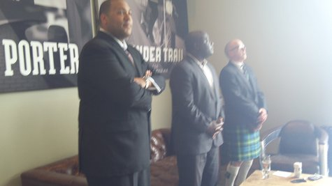 The Chamber's Tim Terrentine, Mayor Bobby Hopewell, and Tim Suprise at the Grand Opening.
