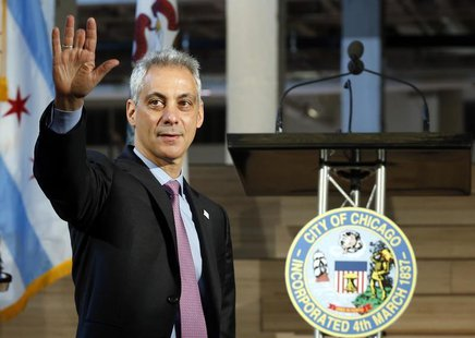 Mayor of Chicago Rahm Emanuel arrives at the public unveiling of Motorola Mobility global headquarters in Chicago, Illinois, April 22, 2014.