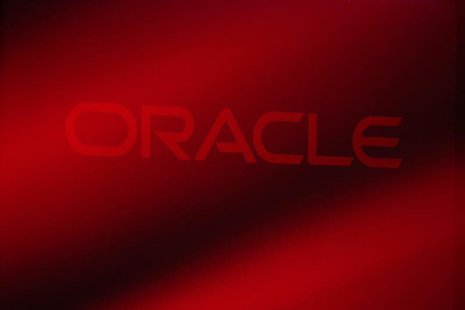 An Oracle Corporation logo is seen on stage prior to the announcement of the company's latest SPARC servers at Oracle Conference Center in R