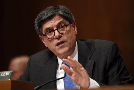 U.S. Treasury Secretary Jack Lew testifies before the Senate Budget Committee about the President's 2015 Budget on Capitol Hill in Washingto