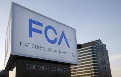 A new Fiat Chrysler Automobiles sign is pictured after being unveiled at Chrysler Group World Headquarters in Auburn Hills, Michigan May 6,