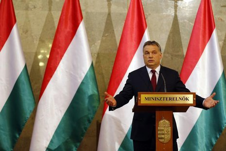 Hungary's Prime Minister Viktor Orban addresses a news conference after parliamentary elections in Budapest April 7, 2014. REUTERS/Laszlo Ba
