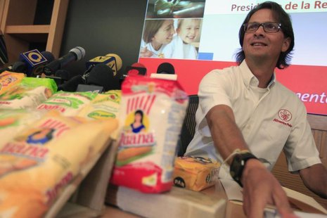 Lorenzo Mendoza, owner of Venezuela's largest private food production company Empresas Polar, attends a news conference in Caracas May 13, 2