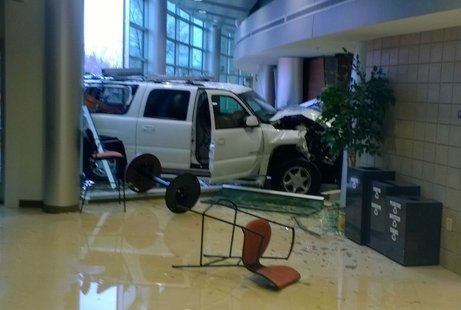 GMC Yukon after crashing into the UW Marathon County Center for Civic Engagement 5/8/14.