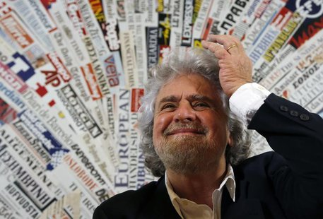 The 5-Star Movement leader and comedian Beppe Grillo gestures before a news conference for foreign press in downtown Rome January 23, 2014.