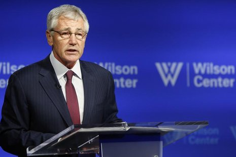 U.S. Secretary of Defense Chuck Hagel delivers remarks on NATO expansion and European security at the Wilson Center in Washington May 2, 201