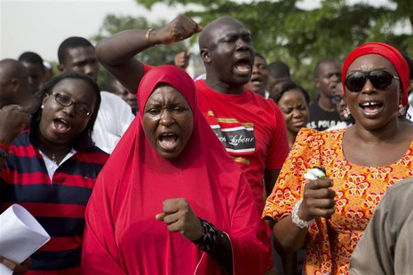 People demand for the release of 200 secondary school girls abducted in the remote village of Chibok, during a protest at Unity Park in Abuj
