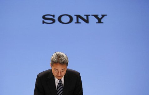 Sony Corp President and Chief Executive Officer Kazuo Hirai bows during a news conference at the company's headquarters in Tokyo February 6,