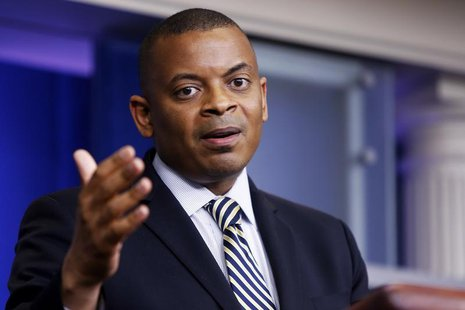 U.S. Transportation Secretary Anthony Foxx addresses reporters during the daily press briefing at the White House in Washington May 12, 2014