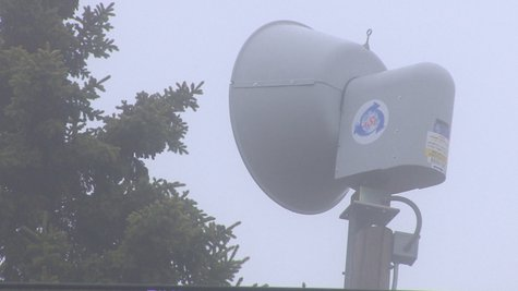 An emergency siren in Manitowoc is out of service after malfunctioning on Monday, May 12, 2014. The problematic siren, outside Stangel Elementary, is shown. (Photo from: FOX 11).