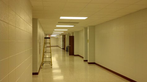 Final touches are being done to this hallway at Oconto High School, Friday, May 9, 2014. (Photo from: FOX 11).