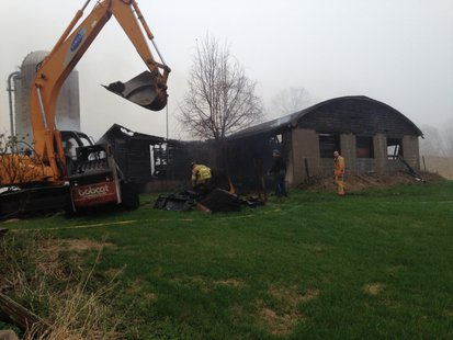 Fire possibly caused by lightning strike at a barn in Shawano County on Mon. May 12, 2014. (Photo from: FOX 11).