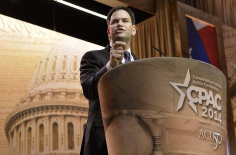 U.S. Sen. Marco Rubio (R-FL) makes remarks to the Conservative Political Action Conference (CPAC) in Oxon Hill, Maryland, March 6, 2014. REU