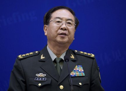 Chief of the general staff of China's People's Liberation Army Fang Fenghui speaks during a press briefing with U.S. Joint Chiefs Chairman G