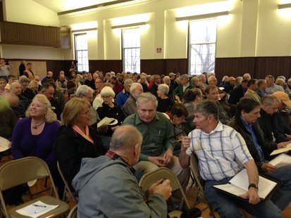A number of Town of Wilson residents gathered at the town hall to hear Kohler's presentation for the golf course.