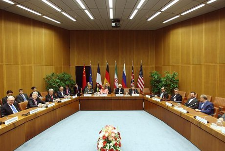 A general view of a meeting with European Union foreign policy chief Catherine Ashton (centre L) and Iranian Foreign Minister Mohammad Javad