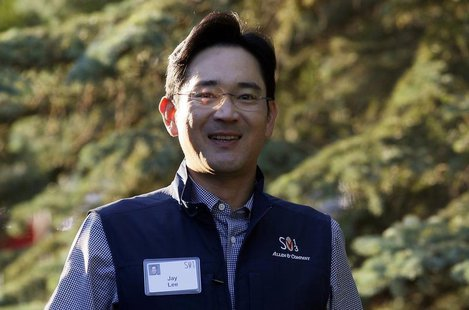Jay Lee, Samsung Electronics vice chairman, arrives for the first session of annual the Allen and Co. conference at the Sun Valley, Idaho Re