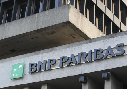 The logo of financial group BNP Paribas Fortis is seen outside the Belgian headquarters in Brussels November 17, 2011. REUTERS/Thierry Roge