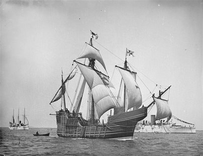 A replica of Christopher Columbus' caravel Santa Maria is shown in this circa 1892 handout photo provided by the United States Library of Co