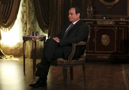 Egypt's presidential candidate and former army chief Abdel Fattah al-Sisi, attends an interview with Reuters in Cairo May 14, 2014. REUTERS/